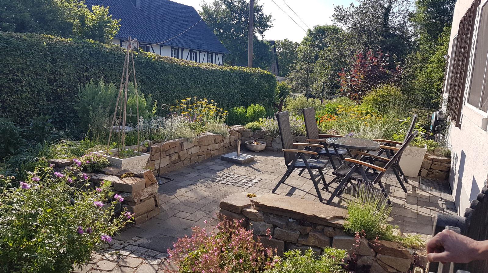 Bepflung Trockenmauern, Pflanzbeete Vorgarten